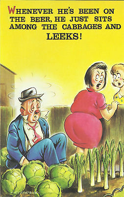 Vintage 1970's Bamforth COMIC Postcard (as new condition) Cabbages & Leeks #556