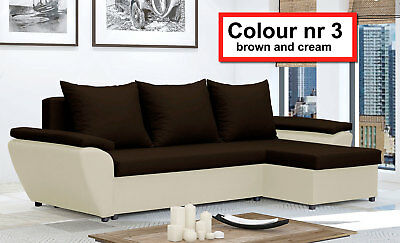 Corner Sofa Bed Jacob NR 3 Brown and Cream Waterproof and Washable Fabric