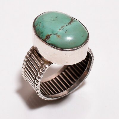 925 Sterling Solid Silver Stone Setted Ring Turquoise Handmade (BCIB)