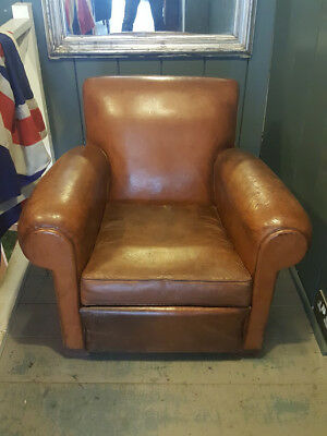 Antique Leather French Club Chair