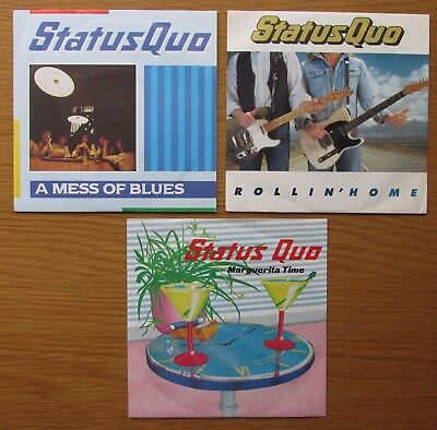 "STATUS QUO JOB LOT OF 3 x 7"" VINYL SINGLE IN PICTURE SLEEVES MARGUERITA TIME"