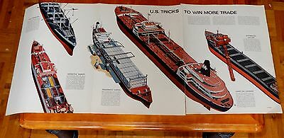 Amazing 60S American Cargo Ships Illustration Poster 14 X 33 Inches - Vintage