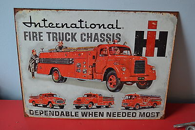 Old International Fire Trucks Tin Metal Sign With Patina - Retro 50S Style