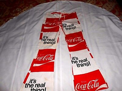 "Bellbottom  COCA COLA  Beach Pants  Size: Small 100% Cotton Linen  28"" inseam"