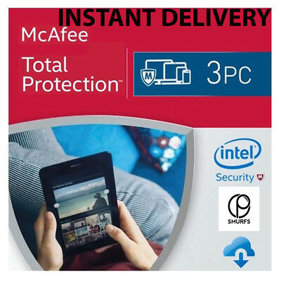 McAfee Total Protection 2017 2018 1Year 3PC Licence Key Download