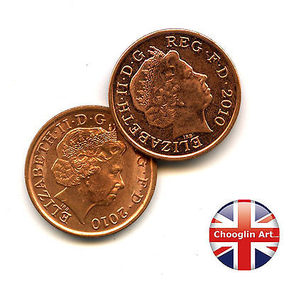A pair of 2010 British Copper Plated Steel ELIZABETH II One penny coins
