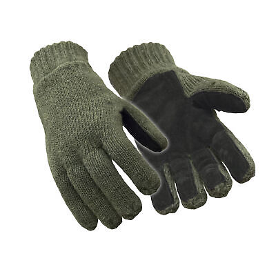 RefrigiWear Insulated 100% Ragg Wool Leather Palm Gloves