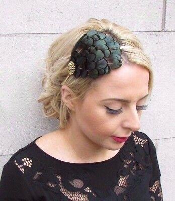 Gold Green Black Lady Amherst Pheasant Feather Fascinator Headband Races 4134