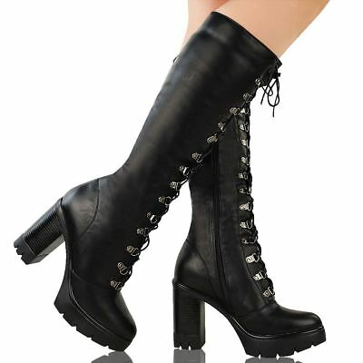 Womens Ladies Chunky Block Heel Cleated Sole Lace Up Goth Punk Knee High Boots