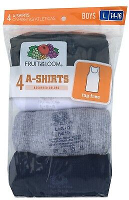 "Fruit of the Loom Boys' A-Shirt (Pack of 4) "" Cotton & Tagless ""  4P514B"