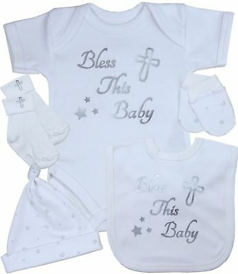 BabyPrem Baby Gift Sets Boys Girls Christening Clothes White Silver Newborn - 12