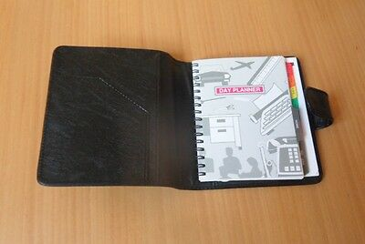 Basic Black Faux Leather Personal Organiser With Integral Day Planner Booklet