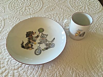 Alboth Kaiser Bavaria Child's Cat Dog Duck Bowl And Cup