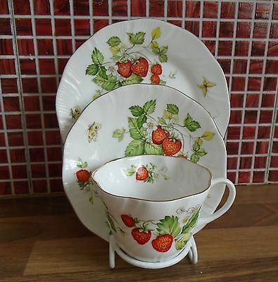 Queen's Virginia Strawberry Cup Saucer & Plate Trio