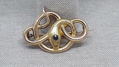 Stunning French Art Nouveau 18ct Gold Filled Snake Serpent Brooch By Fix