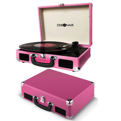 Debonair Briefcase Record Player Vinyl Portable Turntable 3W Stereo Speaker Pink