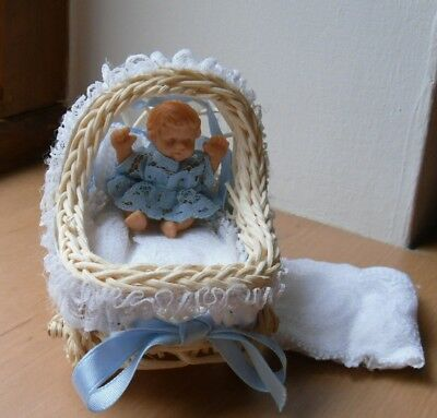 Dolls House Figures Baby in Pram - 1:12 Size