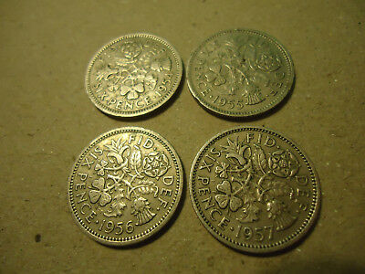 Lot Of 4 English Six Pence Coins   **1954-1957**   >>>Combined Shipping<<<