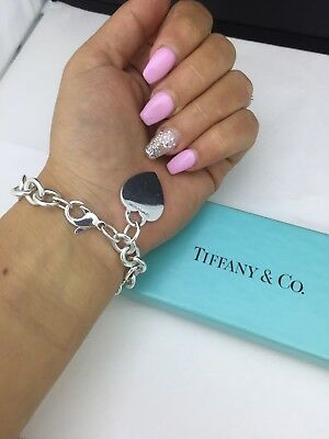 TIFFANY&Co Heart Tag Charm Bracelet Sterling Silver 925 Bangle