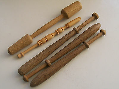 Nice Collection of 4 Wooden/ Treen Lace Bobbins & 1 Other