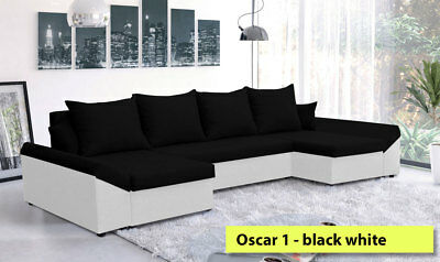 Corner Sofa Bed Oscar NR 1 Black and White Waterproof and Washable Fabric