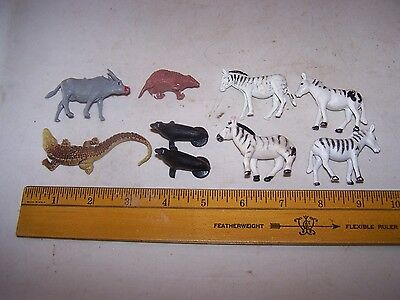 Vintage Toy Plastic Animals ZEBRAS ARMADILLO SEALS WILDEBEEST CROCODILE