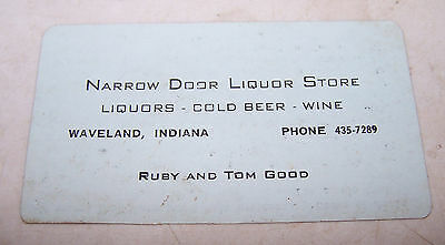 Vintage NARROW DOOR LIQUOR STORE Business Trade Card WAVELAND INDIANA