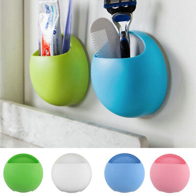 Home Bathroom Toothbrush Wall Mount Holder Sucker Suction Cups Organizer YT