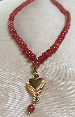 Vintage Retro Mid Century Carnelian Red Bead GT Heart Pendant Necklace Gift 30in