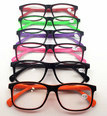 Fashion Candy Contrast Color Big Square Frame Men Womens Reading Glasses Readers