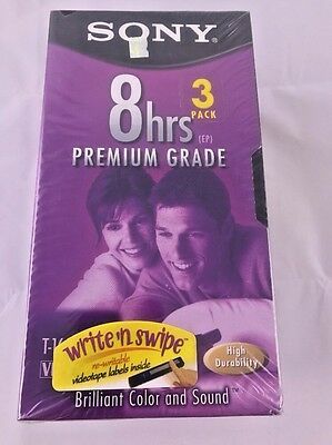 Sony T-160VL 8hrs Premium Grade VHS Video Tapes Brand New Sealed Sony 3 Pack