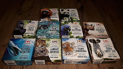 SET of 10 coins Niue Endangered Animal Species 1/2 oz Silver Crystal Colorized