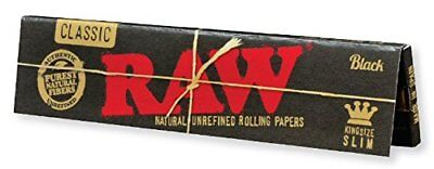 RAW Black Classic Natural Unrefined Rolling Papers King Size Slim - 5 Pk