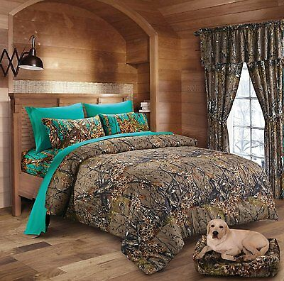 7 Pc Camo Comforter And Teal Sheet Set Queen Bed In Bag Hunter Camouflage Woods