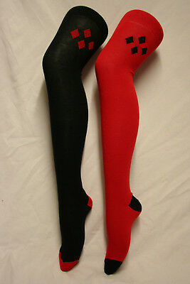 One Black & One Red Harley Quinn / Jester Over The Knee High Cotton Socks