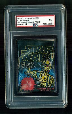 1977 Topps STAR WARS 1st series (Series 1) MEXICAN Wax Pack Graded PSA 7 RARE