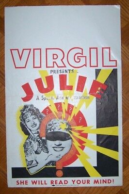 VIRGIL PRESENTS JULIE She Will Read Your Mind - Magic Poster -