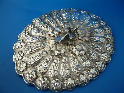 "Egyptian White Metal (Silver) Mounted Hand Mirror - 7""/18cm l by 5.75""/14.5cm w"