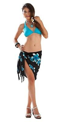e4031db497 1 World Sarongs Womens Half Sarong Plumeria in Turquoise / Black Beach Cover -Up