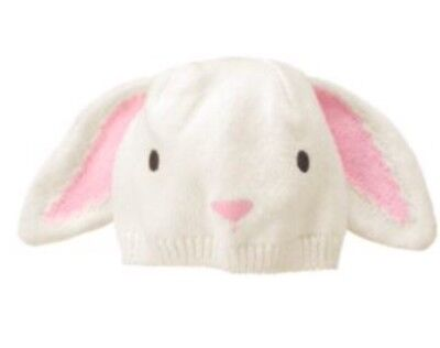 NWT Gymboree Ivory Pink Girls Easter Hoot & Hop Bunny Ears Beanie Hat 6 12 M