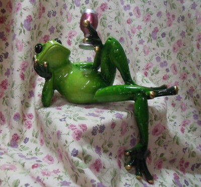 New Ganz Frog Wine Reclining On Back Figure Shelf Sitter