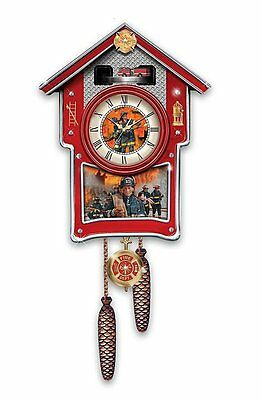 Bradford Exchange -  Around The Clock Heroes FIREFIGHTER Wall Cuckoo Clock