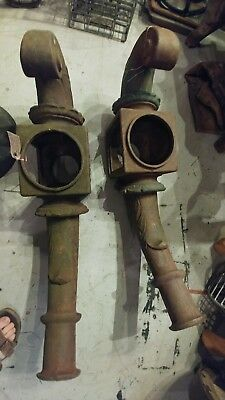 Antique Pair Ornate Cast Iron Street Light Arm Finial Industrial Lighting RARE!