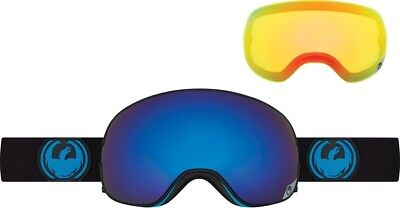 DRAGON X2 SNOW GOGGLES Jet Black-Dark Smoke Blue+Yellow-Red Ion BONUS LENS