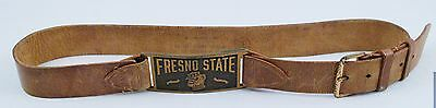 1930s / 40s Vintage Fresno State BULLDOGS Leather Belt-Brass Buckle- 32""