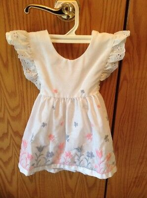 VINTAGE TODDLER GIRL'S PINAFORE DRESS W/ EMBROIDERED TULIP 100% cotton OVERDRESS