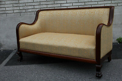 19th C. American Empire Solid Mahogany Sofa, Love Seat, New Upholstery