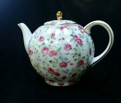 Large Tea Pot - fluted  pink and blue flowers- ROYAL COTSWALD IN THE ENGLISH TRA