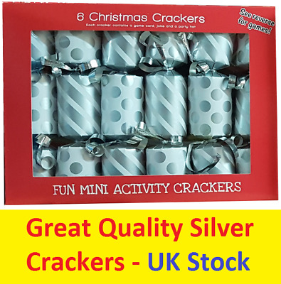 6 Pk Mini Silver Christmas Crackers Xmas Family Gift Festive Party Luxury Design