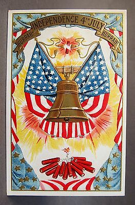 circa 1905 FLAGS & LIBERTY BELL firecrackers 4th of July embossed postcard